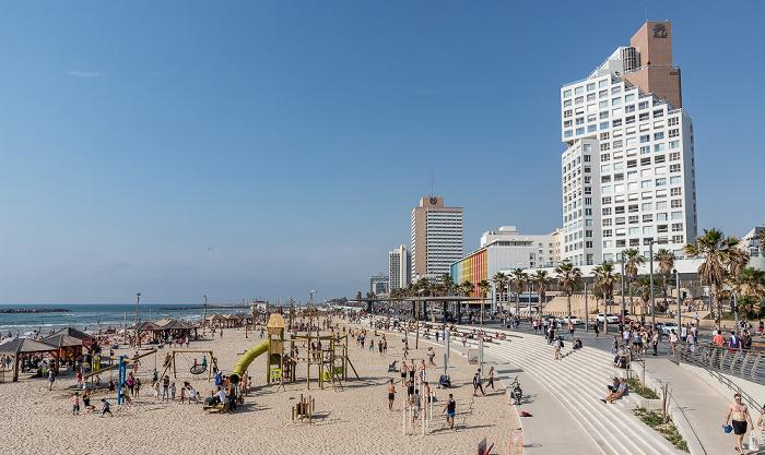 Tel Aviv Mittelmeer, Bograshov Beach, Shlomo Lahat Promenade, Herbert Samuel Street
