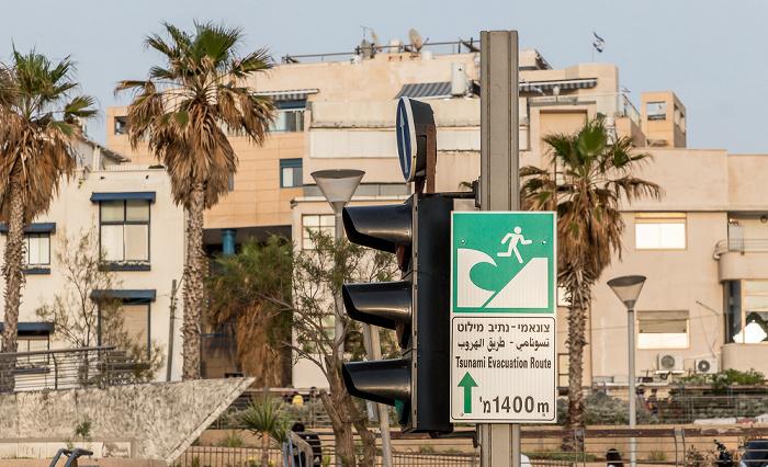 Tel Aviv Shlomo Lahat Promenade: Tsunami-Warnschild