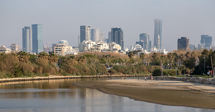 Tel Aviv Blick von der Wauchope Bridge: Yarkon und Stadtzentrum