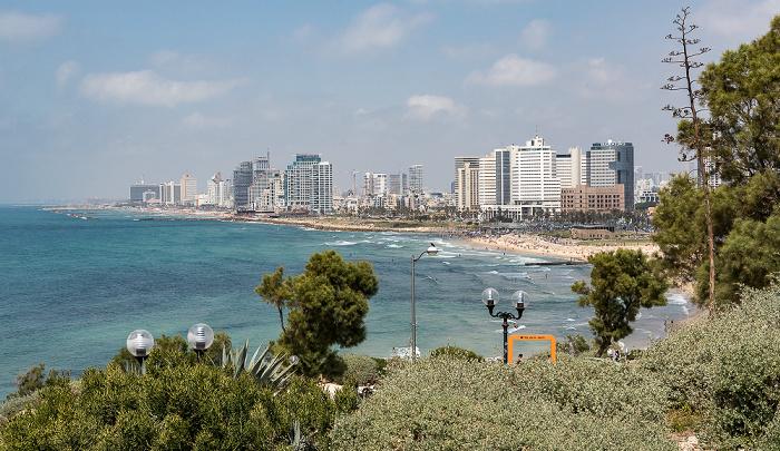Tel Aviv Alt-Jaffa: Blick vom Ha-Pisga-Park auf Mittelmeer, Strand und Stadtzentrum