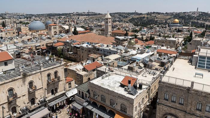 Blick von der Davidszitadelle: Altstadt mit u.a. Grabeskirche, Erlöserkirche und Felsendom Jerusalem
