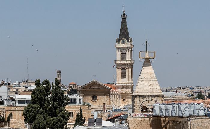 Blick von der Davidszitadelle: Altstadt mit der Salvatorkirche (Kustodie des Heiligen Landes) Jerusalem