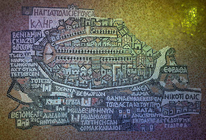 Altstadt (Jüdisches Viertel): Madaba-Karte von Jerusalem Jerusalem