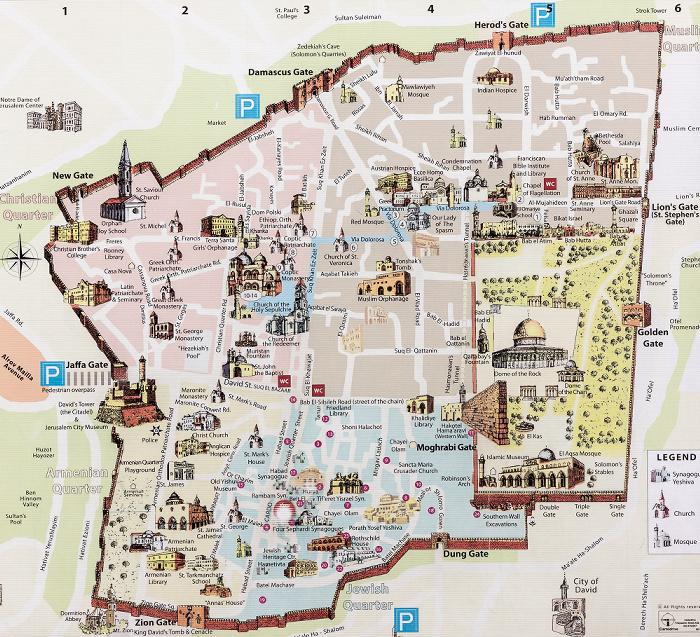Altstadt (Jüdisches Viertel): Karte der Altstadt von Jerusalem Jerusalem