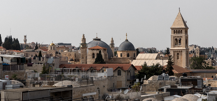 Blick von der Hurva-Synagoge: Christliches Viertel der Altstadt mit Grabeskirche und Erlöserkirche Jerusalem