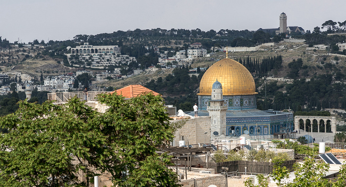 Blick von der Hurva-Synagoge: Altstadt mit dem Felsendom auf dem Tempelberg Jerusalem