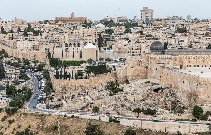 Blick vom Ölberg: Altstadt  Jerusalem