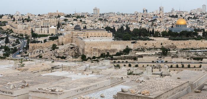 Ölberg mit Jüdischem Friedhof, Kidrontal, Tempelberg mit Al-Aqsa-Moschee und Felsendom, Altstadt, Neustadt Jerusalem