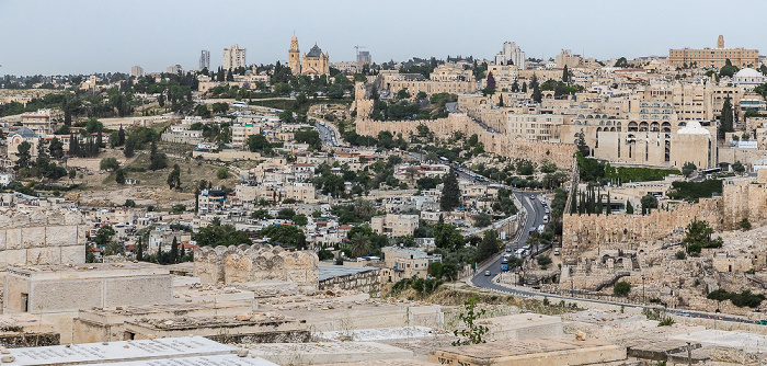 Blick vom Ölberg: Silwan, Ma'ale HaShalom Street, Altstadt Jerusalem