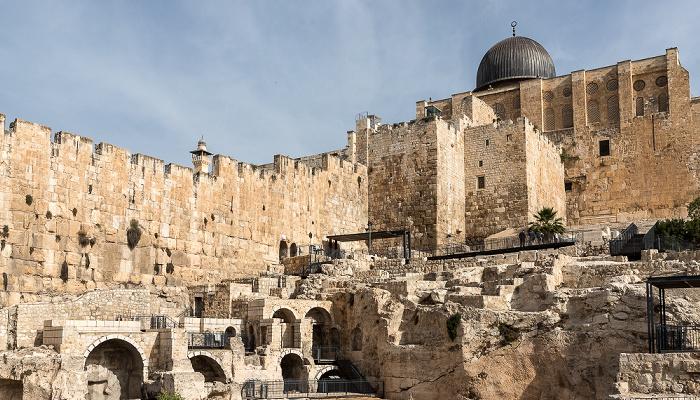 Jerusalem Archaeological Park Davidson Center, Tempelberg mit Al-Aqsa-Moschee