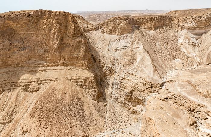 Blick vom Masada-Tafelberg: Wadi Masada