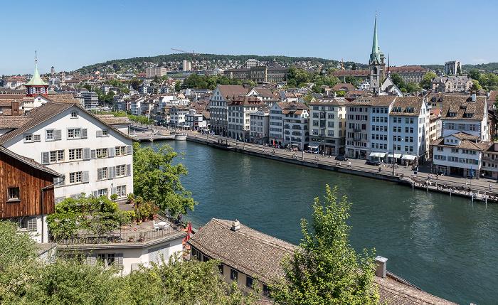 Altstadt - Blick vom Lindenhof: Limmat, Niederdorf (Dörfli) Zürich