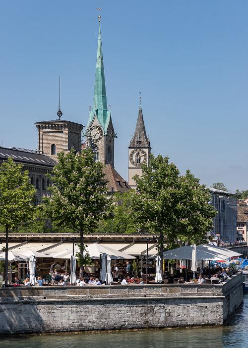 Altstadt - Blick von der Quaibrücke: Limmat mit Bauschänzli Zürich