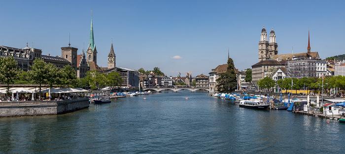 Altstadt - Blick von der Quaibrücke (v.l.): Bauschänzli, Fraumünster, St. Peter, Münsterbrücke, Grossmünster, Utoquai Zürich