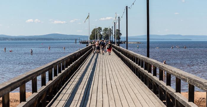 Rättvik Landungsbrücke (Långbryggan) über dem Siljan