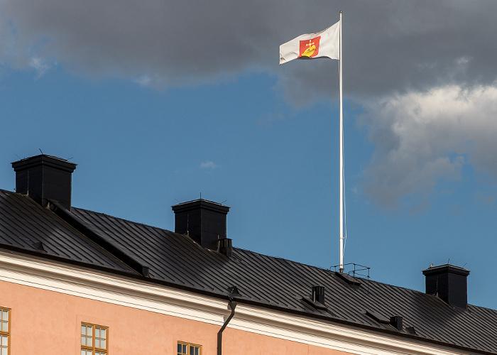 Schloss Uppsala: Flagge der historischen Provinz Uppland und der Provinz Uppsala län