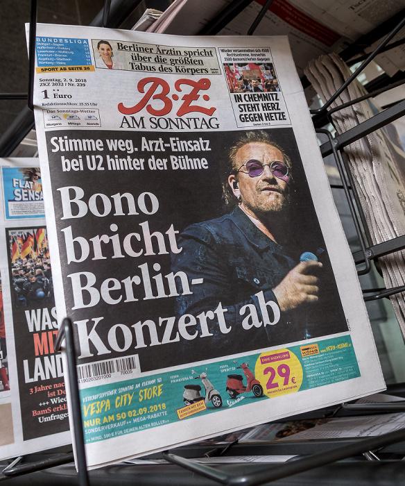 Titelseite der BZ am Sonntag: Bono bricht Berlin-Konzert ab Berlin