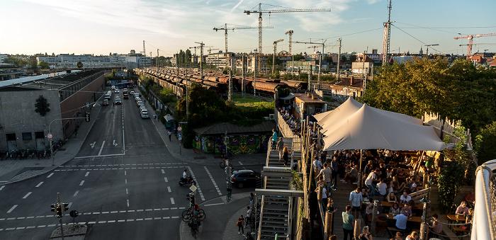 Blick von der Alten Utting: Thalkirchner Straße, Güterbahnhof München-Süd München