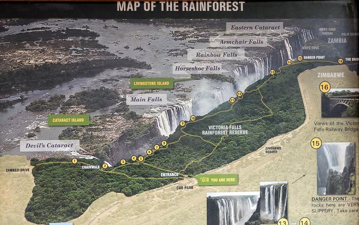 Victoria Falls National Park Schematische Übersicht der Victoriafälle