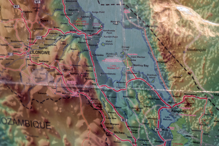 Chembe (Cape Maclear) Karte des südlichen Malawisees