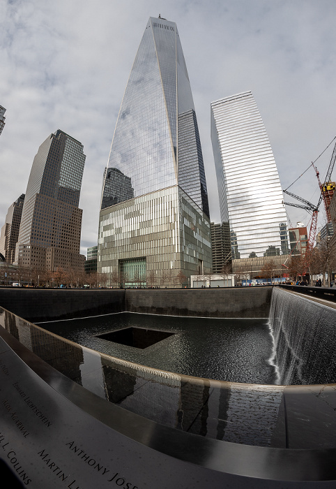 New York World Trade Center Site (v.l.): 200 Vesey Street (Three World Financial Center), One World Trade Center, 7 World Trade Center 9/11 Memorial