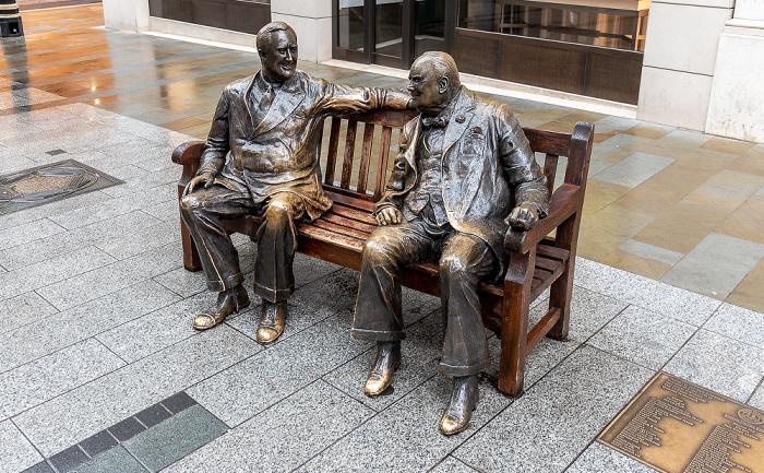 Mayfair: New Bond Street - Churchill And Roosevelt Allies Sculpture London