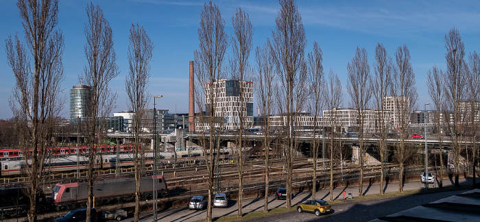 Blick aus dem Hauptzollamt: Bahnstrecke Hauptbahnhof - Pasing, Donnersbergerbrücke München