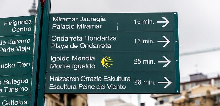 Donostia-San Sebastián Paseo de la Concha: Wegweiser