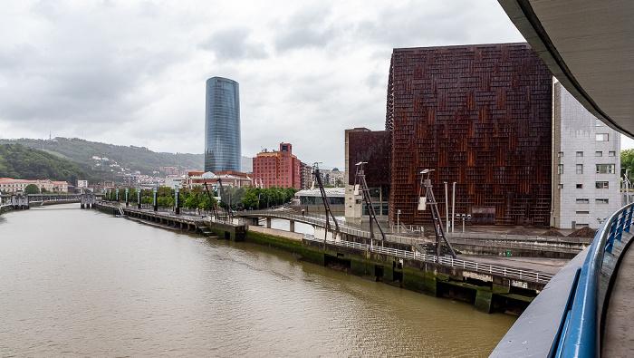 Blick von der Puente Euskalduna: Ría de Bilbao, Palacio Euskalduna de Congresos y de la Música