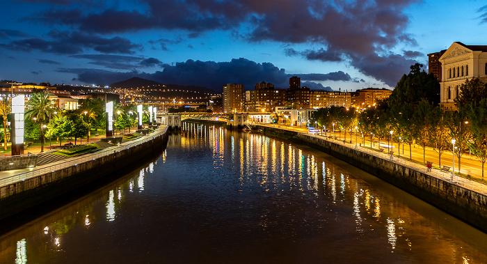 Blick von der Pasarela Pedro Arrupe: Abando, Ría de Bilbao, Uríbarri Bilbao