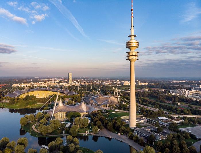 Olympiapark: Olympiasee, Olympiastadion, Olympiaschwimmhalle, Olympiahalle und Olympiaturm München