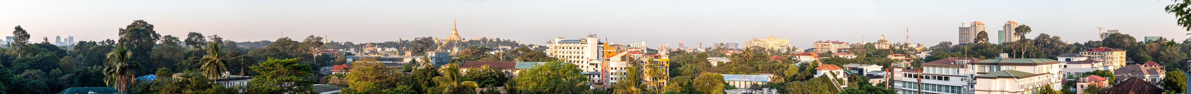 Yangon Blick aus dem Beauty Land Hotel: Shwedagon-Pagode und Umgebung
