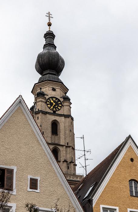 Stadtplatz, Turm der Stadtpfarrkirche St. Stephan Braunau am Inn