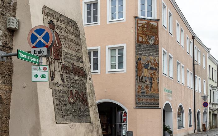 Theatergasse (links), Linzer Straße / Palmstraße Braunau am Inn