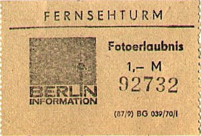 Fernsehturm Fotoerlaubnis Berlin 1978