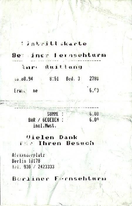 Fernsehturm Berlin 1994
