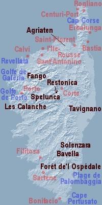 Bastia Korsika-Karte der Bergorte 11.-23.9.