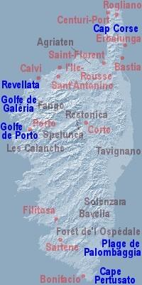 Bastia Korsika-Karte der Küsten 11.-23.9.
