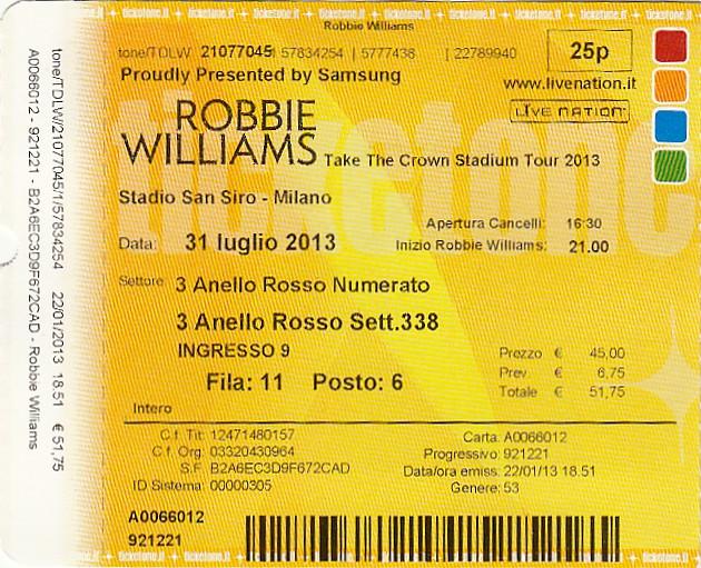 Mailand Stadio San Siro (Giuseppe-Meazza-Stadion): Robbie Williams
