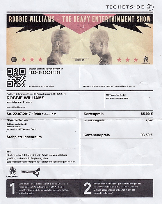 München Olympiastadion: Robbie Williams (+ Erasure)