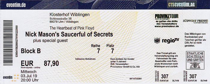 Ulm Klosterhof Wiblingen: Nick Mason's Saucerful of Secrets (+ James Walsh)